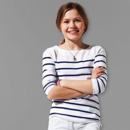 Girls Shirt  striped  white/blue 110/116