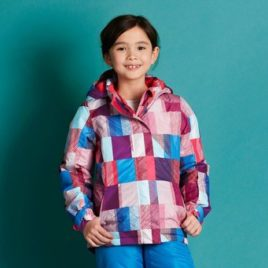 girls ski jacket  checked red  146/152