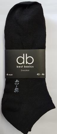 DB 4 Pck Sneaker Socks Black 43-46