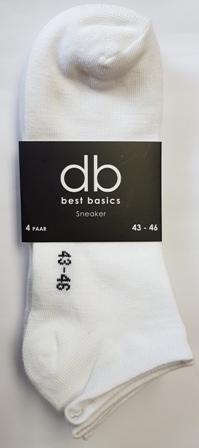 DB 4 Pck Sneaker Socks White 43-46