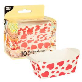 10 Mini baking cases 4x7x4cm hearts (12