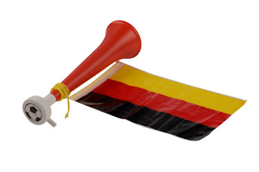 German Flute with flag 28cm