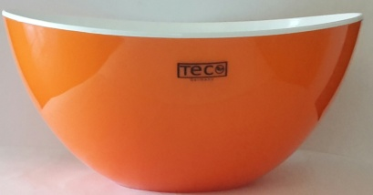 Plastic dbl wall salad bowl 25×12 orange